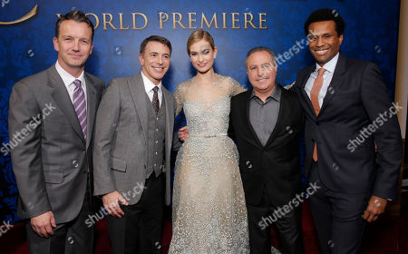 """President of Walt Disney Studios Motion Picture Production Sean Bailey, Walt Disney Studios President of Marketing Ricky Strauss, actress Lily James, Walt Disney Studios President Alan Bergman and Senior vice president, production, at the Walt Disney Studios, Tendo Nagenda attend the World Premiere Of """"Cinderella"""", in Los Angeles"""