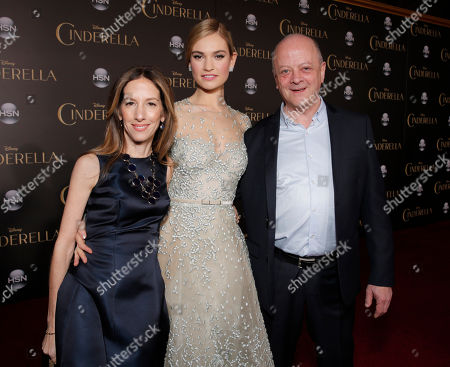 """Producer Allison Shearmur, Lily James and Producer David Barron attend the World Premiere Of """"Cinderella"""", in Los Angeles"""