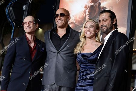 """From left to right, director David Twohy, actor Vin Diesel, actress Katee Sackhoff, and actor Jordi Molla arrive on the red carpet at the world premiere of the feature film """"Riddick"""" at the Regency Village Theatre on in Los Angeles"""