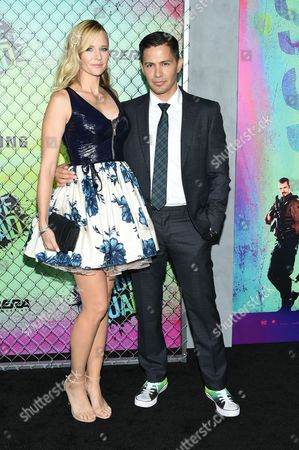 "Actor Jay Hernandez and girlfriend Daniella Deutscher attend the world premiere of ""Suicide Squad"" at the Beacon Theatre, in New York"