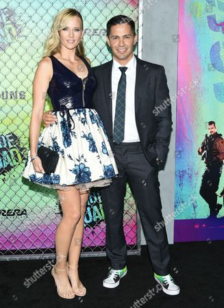 "Daniella Deutscher, left, and Jay Hernandez attend the world premiere of ""Suicide Squad"" at the Beacon Theatre, in New York"