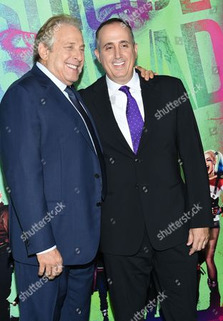 "Producers Chuck Roven, left, and Richard Suckle attend the world premiere of ""Suicide Squad"" at the Beacon Theatre, in New York"