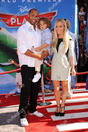 """Stock Image of From Left, Hank Baskett III, Hank Baskett IV, and Kendra Wilkinson Baskett arrive at the world premiere of """"Disney's Planes"""" at the El Capitan Theatre on in Los Angeles"""