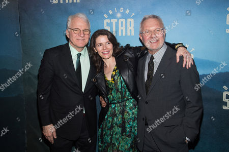 "Steve Martin, left, Edie Brickell and Walter Bobbie attend the ""Bright Star"" opening night after party at the Gotham Hall, in New York"