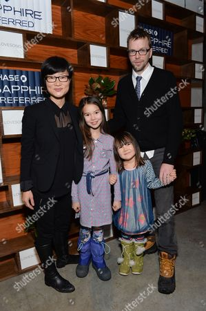 """Director So Yong Kim, left, and her family attend the """"Lovesong"""" cast party hosted by Chase Sapphire Preferred during the 2016 Sundance Film Festival, in Park City, Utah"""