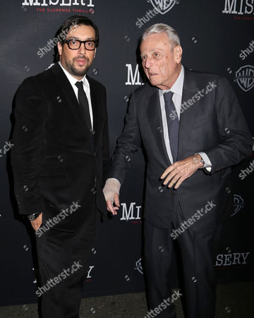 """Director Will Frears, left, and playwright William Goldman attend the opening night of """"Misery"""" on Broadway at the Broadhurst Theatre, in New York"""