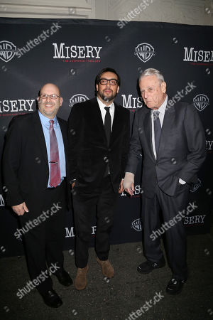 """From left, Mark Kaufman, Will Frears and WIlliam Goldman attend the opening night of """"Misery"""" on Broadway at the Broadhurst Theatre, in New York"""