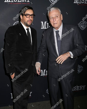 """Stock Picture of Director Will Frears, left, and playwright William Goldman attend the opening night of """"Misery"""" on Broadway at the Broadhurst Theatre, in New York"""