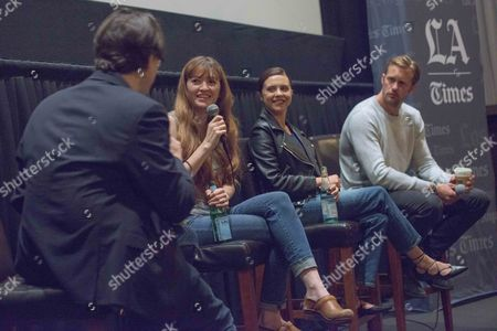"""Stock Picture of Moderator Mark Olsen, from left, Director Marielle Heller, Bel Powley and Alexander Skarsgard attend """"The Diary of a Teenage Girl"""" screening and Q&A at Sundance Sunset Cinemas, in Los Angeles"""