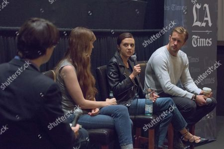 """Moderator Mark Olsen, from left, Director Marielle Heller, Bel Powley and Alexander Skarsgard attend """"The Diary of a Teenage Girl"""" screening and Q&A at Sundance Sunset Cinemas, in Los Angeles"""