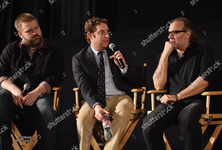"Robert Kirkman, and from left, Scott M. Gimple and Gregory Nicotero are seen at ""The Walking Dead"" ATAS FYC event at the Egyptian Theater on in Los Angeles"