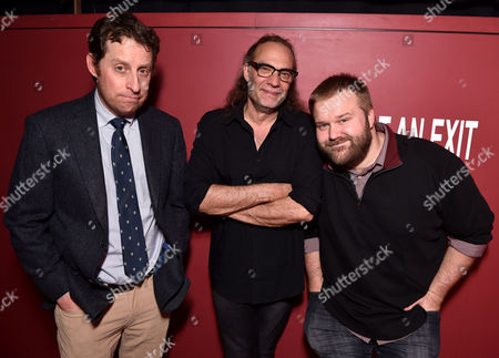 "Scott M. Gimple, and from left, Gregory Nicotero and Robert Kirkman are seen at ""The Walking Dead"" ATAS FYC event at the Egyptian Theater on in Los Angeles"