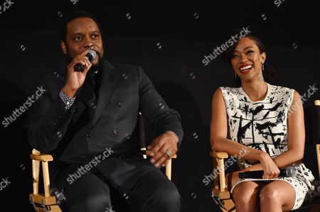 """Chad Coleman, left, and Sonequa Martin-Green are seen at """"The Walking Dead"""" ATAS FYC event at the Egyptian Theater on in Los Angeles"""