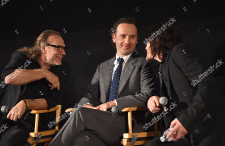 "Gregory Nicotero, and from left, Andrew Lincoln and Norman Reedus are seen at ""The Walking Dead"" ATAS FYC event at the Egyptian Theater on in Los Angeles"