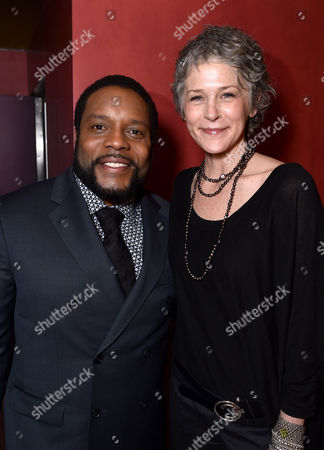 """Chad Coleman, left, and Melissa McBride are seen at """"The Walking Dead"""" ATAS FYC event at the Egyptian Theater on in Los Angeles"""