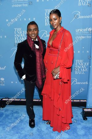 Stock Photo of Chef Marcus Samuelsson and wife Maya Samuelsson attend the 12th Annual UNICEF Snowflake Ball at Cipriani Wall Street, in New York