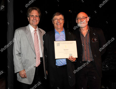 NORTH HOLLYWOOD, CA - SEPTEMBER 8: (L-R) Dan Foliart, President, the Society of Composers and Lyricists, Emmy nominee Ron Jones, and Television Academy Governor Mark Adler pose at the 2011 Academy of Television Arts and Sciences Music Nominee Reception held at the Academy of Television Arts & Sciences in North Hollywood, California, Thursday September, 8 2011