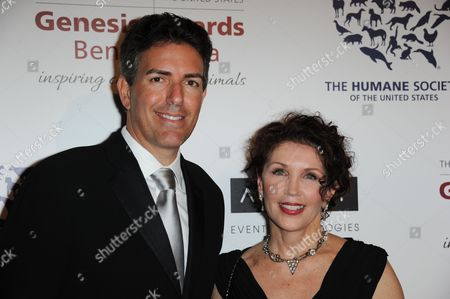 Wayne Pacelle, left, and Beverly Kaskey arrive at the 2013 Genesis Awards Benefit Gala at The Beverly Hilton on in Los Angeles