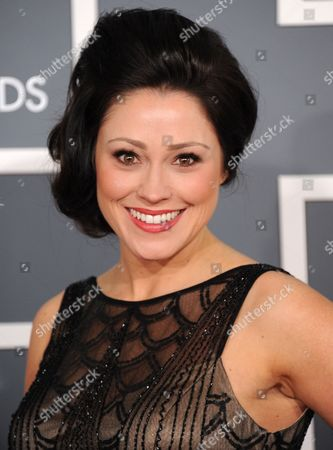 Kari Jobe arrives at the 55th annual Grammy Awards, in Los Angeles