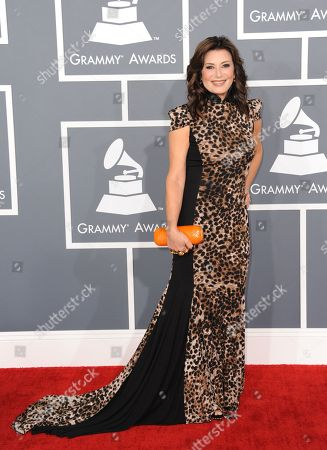 Denise Donatelli arrives at the 55th annual Grammy Awards, in Los Angeles
