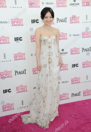 Stock Image of Actress Lemon Zhang arrives at the Independent Spirit Awards, in Santa Monica, Calif