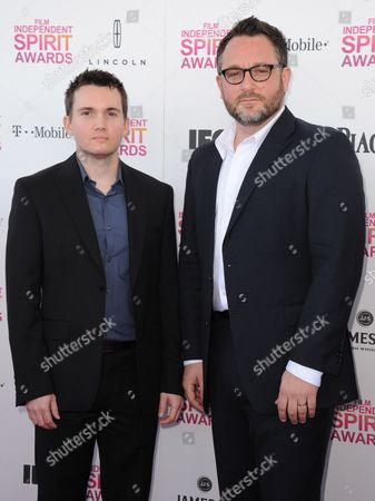Writer Derek Connolly and director Colin Trevorrow arrive at the Independent Spirit Awards, in Santa Monica, Calif