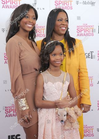 Qunyquekya Wallis, actress Quvenzhane Wallis and Qulyndreia Wallis, from left to right, arrive at the Independent Spirit Awards, in Santa Monica, Calif