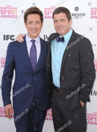Co-Presidents of Film Independent Sean McManus, left, and Josh Welsh arrive at the Independent Spirit Awards, in Santa Monica, Calif