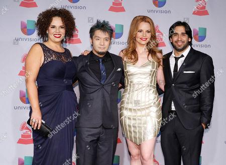 Members of Quattro, Lisa Dondlinger, Giovanna Moraga Clayton, Kay-Ta Matsuno, and Jorge Villanueva arrives at the 14th Annual Latin Grammy Awards at the Mandalay Bay Hotel and Casino, in Las Vegas