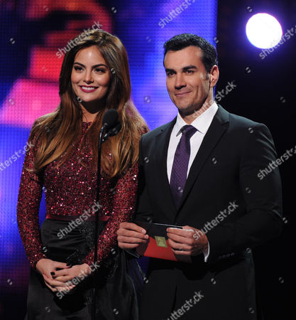 From left, model Ximena Navarrete and actor David Zepeda onstage at the 14th Annual Latin Grammy Awards at the Mandalay Bay Hotel and Casino, in Las Vegas