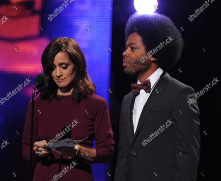 From left, presenters Julieta Venegas and Alex Cuba onstage at the 14th Annual Latin Grammy Awards at the Mandalay Bay Hotel and Casino, in Las Vegas