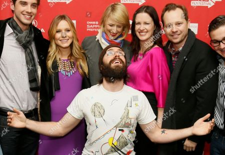 "Cast member Martin Starr, center front, poses along with, form left to right, David Lambert, Kristen Bell, who is pregnant, Mamie Gummer, director and writer Liz Garcia, Joshua Harto, and Paulie Litt at the premiere of ""The Lifeguard"" during the 2013 Sundance Film Festival on in Park City, Utah"