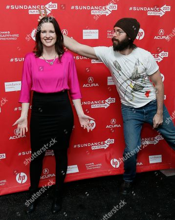 """Director, writer and producer Liz Garcia, left, poses as cast member Martin Starr, right, gives her """"bunny ears"""" at the premiere of """"The Lifeguard"""" during the 2013 Sundance Film Festival on in Park City, Utah"""