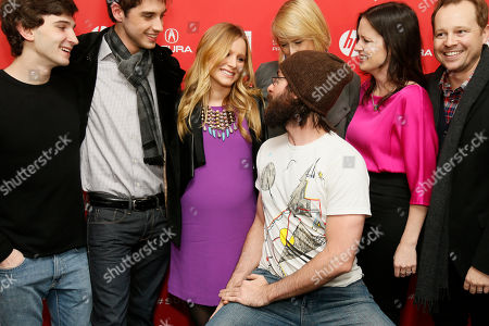 "Cast member Martin Starr looks at Kristen Bell, who is pregnant, while Alex Shaffer, left, David Lambert, second left, Mamie Gummer, top, director and writer Liz Garcia, second right, and Joshua Harto, right, also pose together at the premiere of ""The Lifeguard"" during the 2013 Sundance Film Festival on in Park City, Utah"