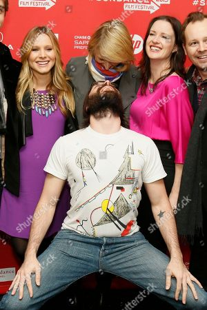 """Cast member Martin Starr, center front, poses along with, form left to right, Kristen Bell, who is pregnant, Mamie Gummer, director and writer Liz Garcia, and Joshua Harto, at the premiere of """"The Lifeguard"""" during the 2013 Sundance Film Festival on in Park City, Utah"""