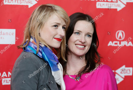 """Cast member Mamie Gummer, left, and writer and director Liz Garcia, right, pose together at the premiere of """"The Lifeguard"""" during the 2013 Sundance Film Festival on in Park City, Utah"""