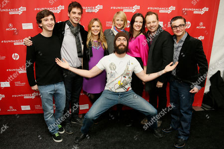 "Cast member Martin Starr, center front, poses along with, form left to right, Alex Shaffer, David Lambert, Kristen Bell, who is pregnant, Mamie Gummer, director and writer Liz Garcia, Joshua Harto, and Paulie Litt at the premiere of ""The Lifeguard"" during the 2013 Sundance Film Festival on in Park City, Utah"