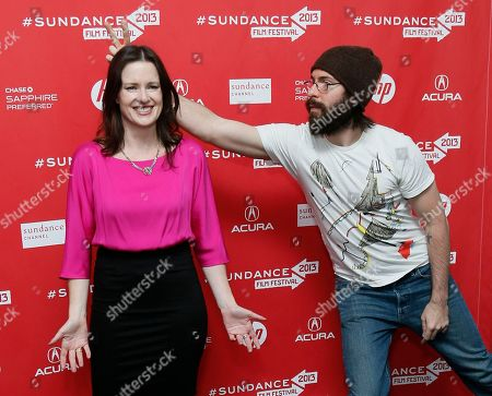 """Director, writer and producer Liz Garcia, left, poses as cast member Martin Starr, right, leans into the shot to give her bunny ears at the premiere of """"The Lifeguard"""" during the 2013 Sundance Film Festival on in Park City, Utah"""