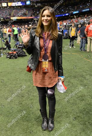 Actress/singer Katherine McPhee is seen at Super Bowl XLVII on in New Orleans