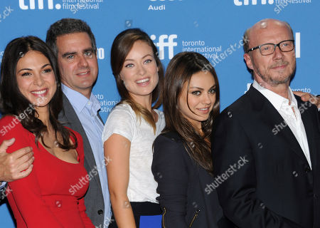 """From left, Moran Atias, Michael Nozik, Olivia Wilde, Mila Kunis and Paul Haggis attend the press conference for """"Third Person"""" on day 6 of the Toronto International Film Festival at the TIFF Bell Lightbox, in Toronto"""