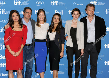 """From left, Moran Atias, Michael Nozik, Olivia Wilde, Mila Kunis, Loan Chabanol, and Liam Neeson attend the press conference for """"Third Person"""" on day 6 of the Toronto International Film Festival at the TIFF Bell Lightbox, in Toronto"""