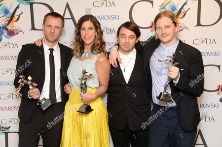 From left, designersTim Coppens, Irene Neuwirth, Christopher Peters and Shane Gabier at the Winners Walk at the 2014 CFDA Fashion Awards, on in New York