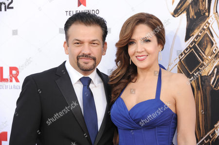 David Barrera, left and Maria Canals Barrera arrive at the NCLR ALMA Awards at the Pasadena Civic Auditorium, in Pasadena, Calif