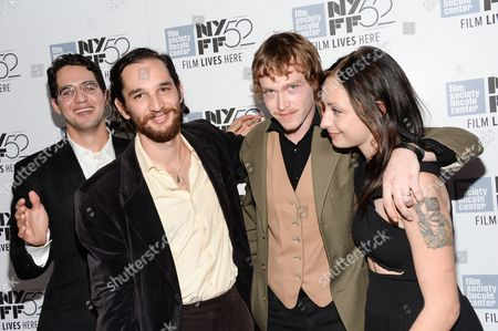 "Co-director Ben Safdie, from left, co-director Joshua Safdie, actor Caleb Landry Jones and actress Arielle Holmes attend the ""Heaven Know What"" screening during the 52nd Annual New York Film Festival at Alice Tully Hall, in New York"