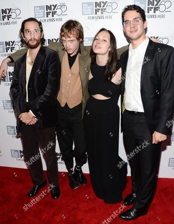 "Co-director Joshua Safdie, from left, actor Caleb Landry Jones, actress Arielle Holmes and co-director Ben Safdie attend the ""Heaven Know What"" screening during the 52nd Annual New York Film Festival at Alice Tully Hall, in New York"