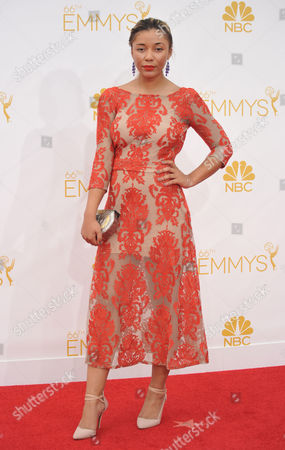 Stock Image of Zoe Soul arrives at the 66th Annual Primetime Emmy Awards at the Nokia Theatre L.A. Live, in Los Angeles