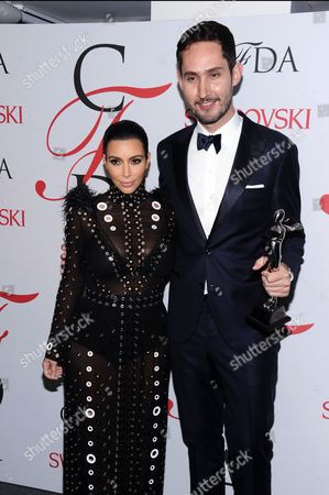 Kim Kardashian West and Kevin Systrom attend the 2015 CFDA Fashion Awards at Alice Tully Hall, in New York