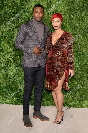 Brandon Marshall and wife Michi Nogami-Marshall attend the 12th Annual CFDA/Vogue Fashion Fund Awards at Spring Studios, in New York