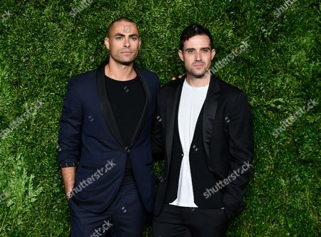 Scott Studenberg, left, and John Targon attend the 12th Annual CFDA/Vogue Fashion Fund Awards at Spring Studios, in New York