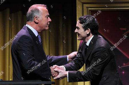 Bill Isler, president of the Fred Rogers company, left, and Robin Lord Taylor appear on stage at the 36th College Television Awards, presented by the Television Academy Foundation at the Skirball Cultural Center in Los Angeles on
